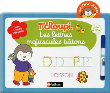 Mon livre ardoise T'choupi  - Les lettres majuscules bâtons - Dès 4 ans