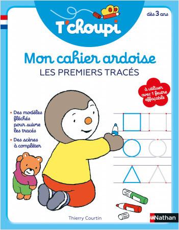 T'choupi mon cahier ardoise effaçable- Pour s'entraîner à dessiner ses premières formes (boucles, ponts, lignes ...) - Dès 3 ans