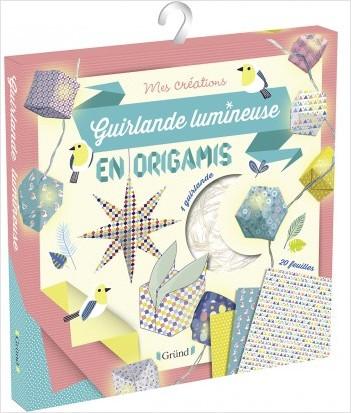 Guirlande lumineuse en Origamis – Pochette avec 20 feuilles, 1 guirlande avec 10 loupiotes et 1 guide – À partir de 6 ans