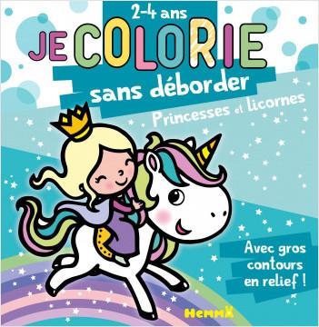 Princesses et Licornes - Bloc de coloriages aux contours épais pailletés et en relief - dès 2 ans