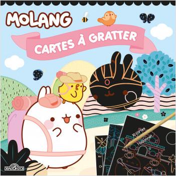 Molang – Cartes à gratter - Pochette avec 10 cartes à gratter et un bâtonnet – Dès 6 ans